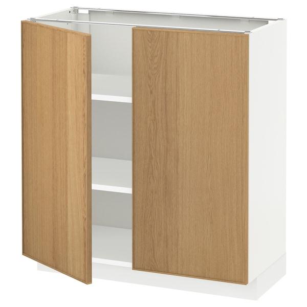 METOD Base cabinet with shelves/2 doors, white/Ekestad oak, 80x37 cm