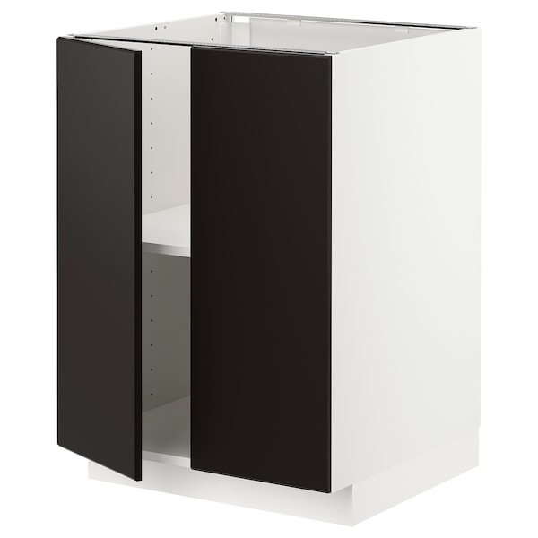 METOD Base cabinet with shelves/2 doors, white/Kungsbacka anthracite, 60x60 cm