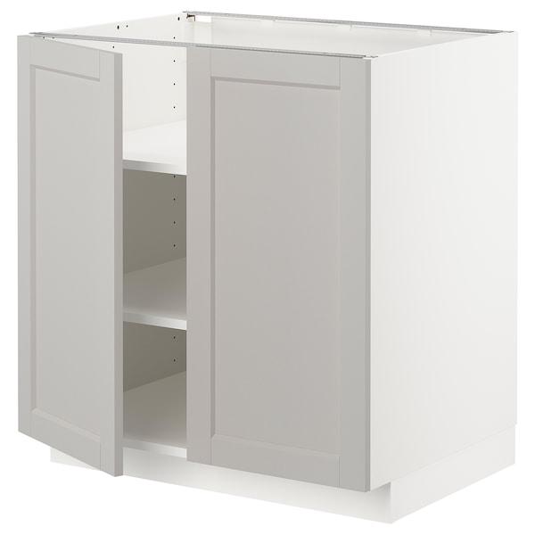METOD base cabinet with shelves/2 doors white/Lerhyttan light grey 80.0 cm 61.9 cm 88.0 cm 60.0 cm 80.0 cm