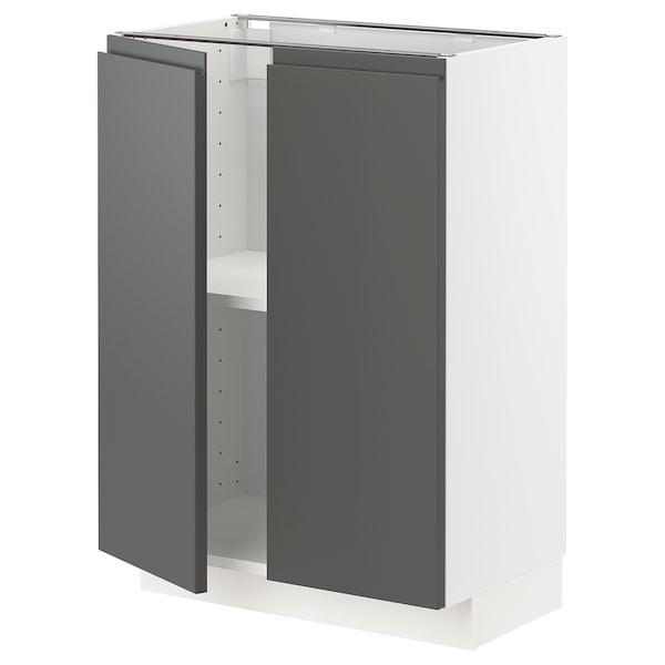 METOD base cabinet with shelves/2 doors white/Voxtorp dark grey 60.0 cm 39.2 cm 88.0 cm 37.0 cm 80.0 cm