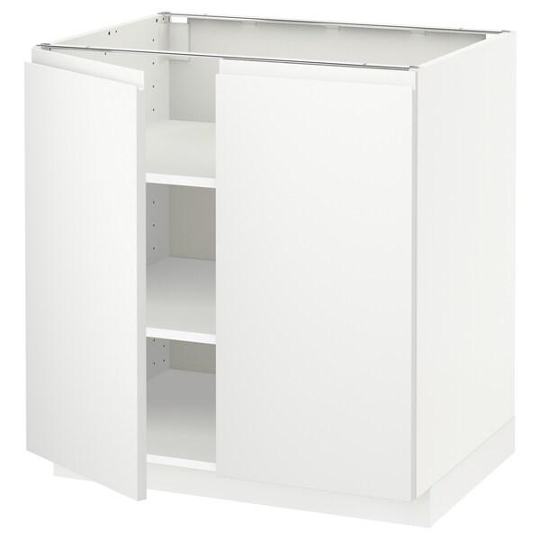 METOD Base cabinet with shelves/2 doors, white/Voxtorp matt white, 80x60 cm