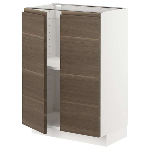 METOD base cabinet with shelves/2 doors white/Voxtorp walnut effect 60.0 cm 39.2 cm 88.0 cm 37.0 cm 80.0 cm