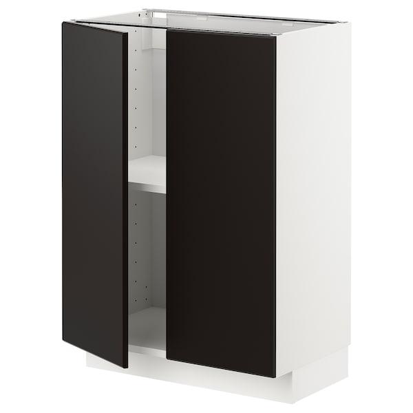 METOD base cabinet with shelves/2 doors white/Kungsbacka anthracite 60.0 cm 39.2 cm 88.0 cm 37.0 cm 80.0 cm