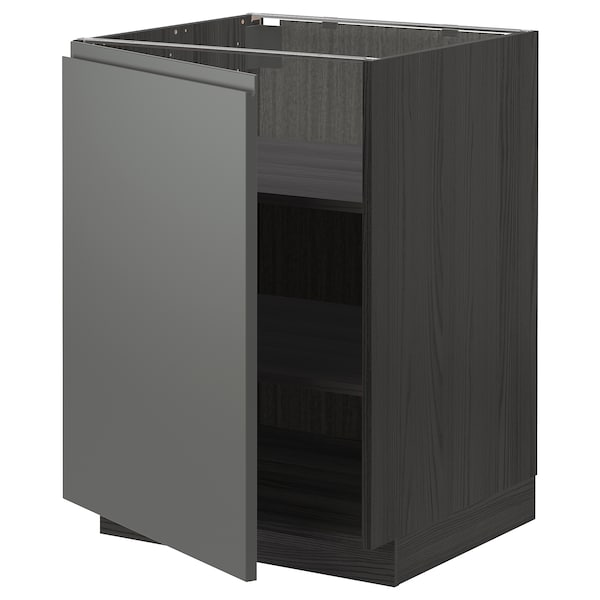 METOD base cabinet with shelves black/Voxtorp dark grey 60.0 cm 62.1 cm 88.0 cm 60.0 cm 80.0 cm