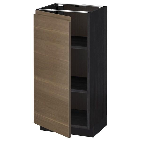 METOD Base cabinet with shelves, black/Voxtorp walnut effect, 40x37 cm