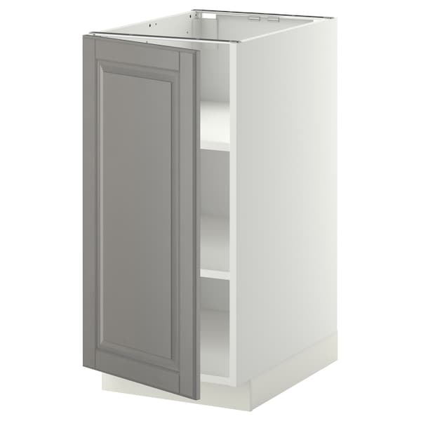 METOD Base cabinet with shelves, white/Bodbyn grey, 40x60 cm