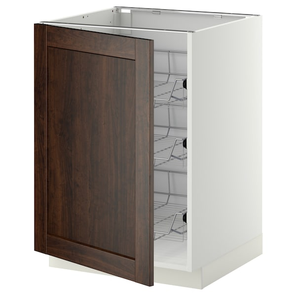METOD base cabinet with wire baskets white/Edserum brown 60.0 cm 61.8 cm 88.0 cm 60.0 cm 80.0 cm