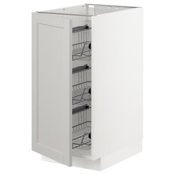 METOD base cabinet with wire baskets white/Lerhyttan light grey 40.0 cm 61.9 cm 88.0 cm 60.0 cm 80.0 cm