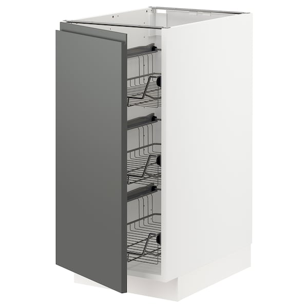 METOD base cabinet with wire baskets white/Voxtorp dark grey 40.0 cm 62.1 cm 88.0 cm 60.0 cm 80.0 cm