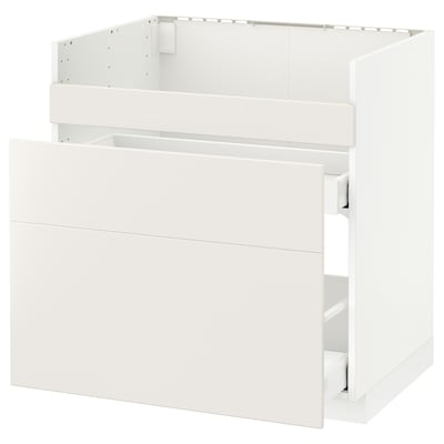 METOD Base cb f HAVSEN snk/3 frnts/2 drws, white Maximera/Veddinge white, 80x60 cm