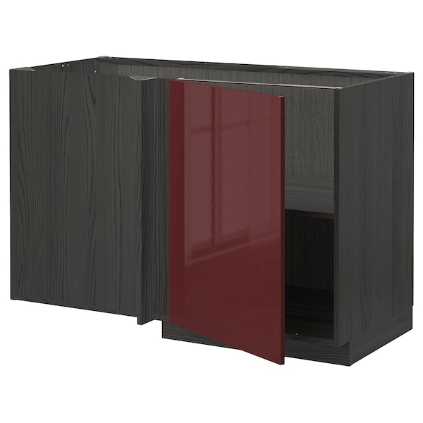 METOD Corner base cabinet with shelf, black Kallarp/high-gloss dark red-brown, 128x68 cm