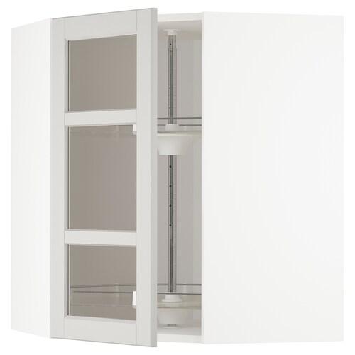 METOD corner wall cab w carousel/glass dr white/Lerhyttan light grey 67.5 cm 67.5 cm 80.0 cm