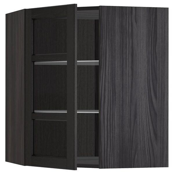 METOD Corner wall cab w shelves/glass dr, black/Lerhyttan black stained, 68x80 cm