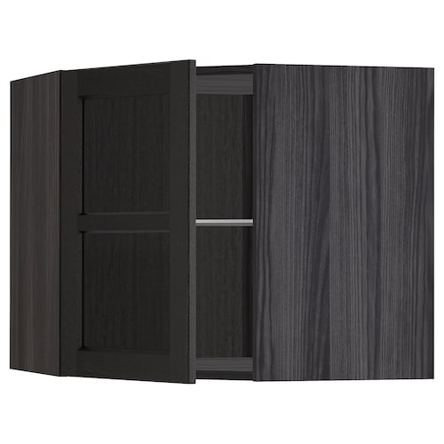 METOD corner wall cab w shelves/glass dr black/Lerhyttan black stained 67.5 cm 67.5 cm 60.0 cm