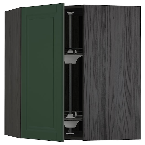 METOD corner wall cabinet with carousel black/Bodbyn dark green 67.5 cm 67.5 cm 80.0 cm