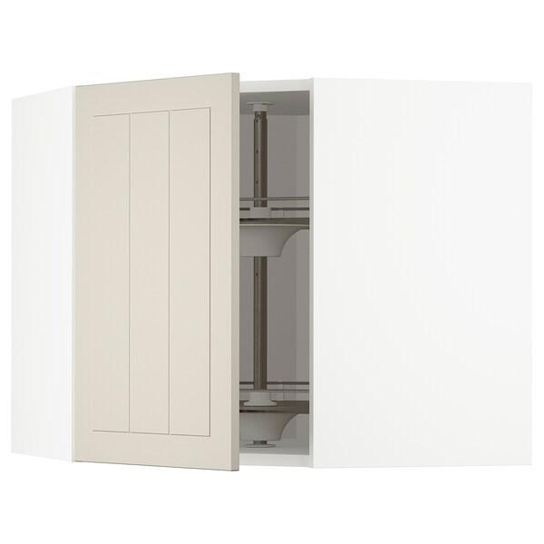 METOD Corner wall cabinet with carousel, white/Stensund beige, 68x60 cm