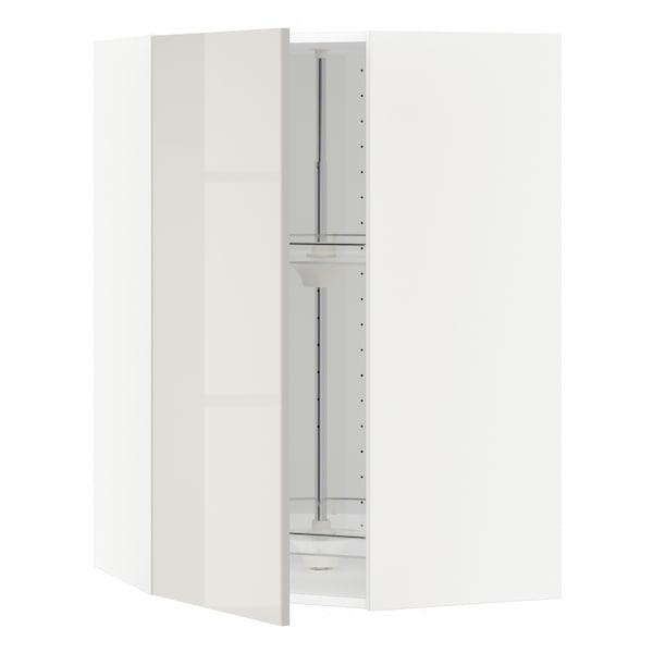 METOD corner wall cabinet with carousel white/Ringhult light grey 67.5 cm 67.5 cm 100.0 cm