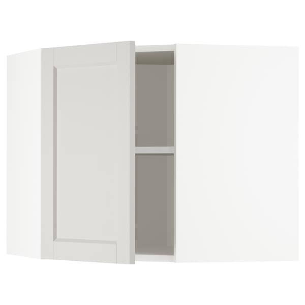 METOD خزانة حائط زاوية مع أرفف, أبيض/Lerhyttan رمادي فاتح, 68x60 سم