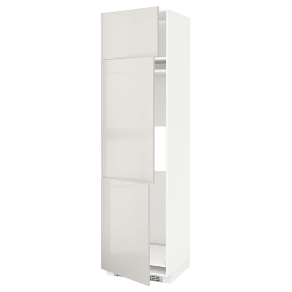 METOD High cab f fridge/freezer w 3 doors, white/Ringhult light grey, 60x60x220 cm