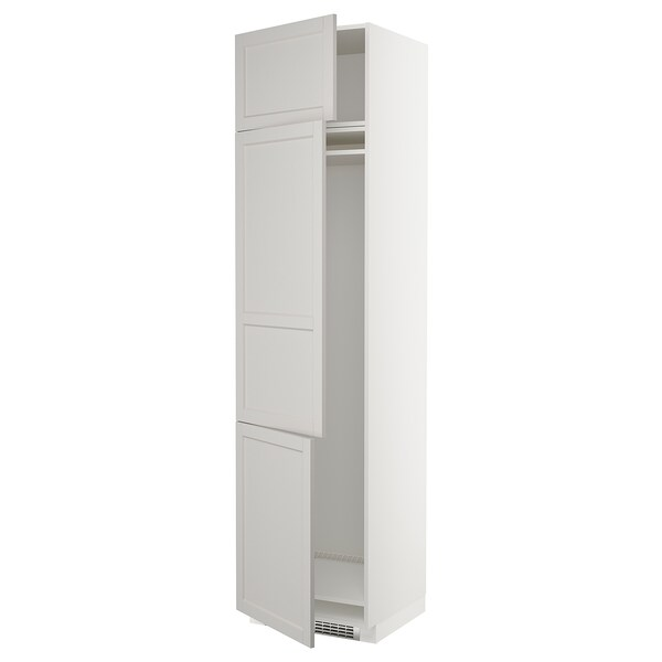 METOD high cab f fridge/freezer w 3 doors white/Lerhyttan light grey 60.0 cm 61.9 cm 248.0 cm 60.0 cm 240.0 cm