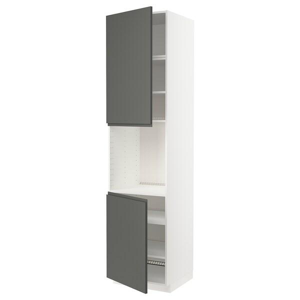 METOD خزانة عالية لفرن مع بابين/أرفف, أبيض/Voxtorp رمادي غامق, 60x60x240 سم