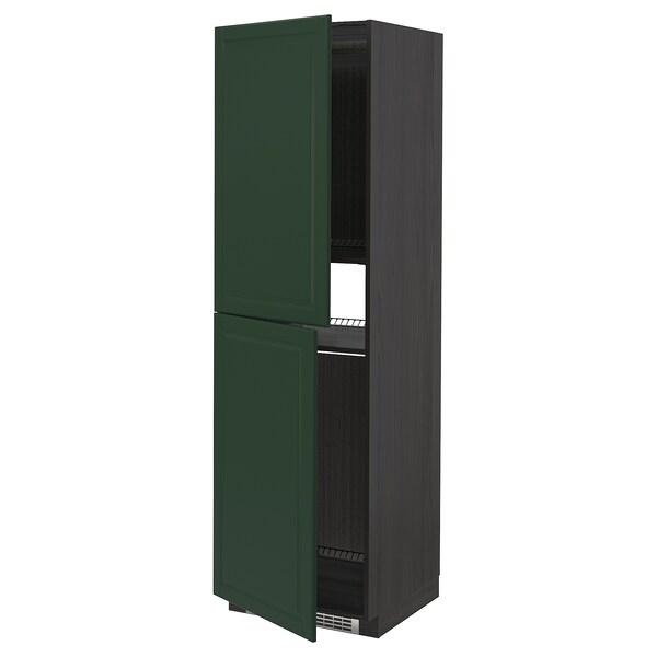 METOD high cabinet for fridge/freezer black/Bodbyn dark green 60.0 cm 61.9 cm 208.0 cm 60.0 cm 200.0 cm
