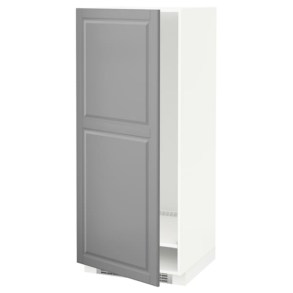 METOD High cabinet for fridge/freezer, white/Bodbyn grey, 60x60x140 cm