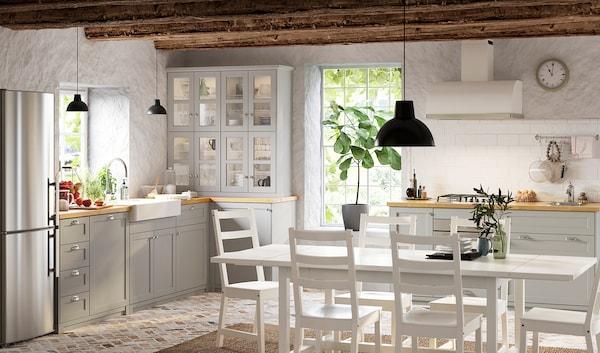 METOD High cabinet for fridge/freezer, white/Lerhyttan light grey, 60x60x140 cm