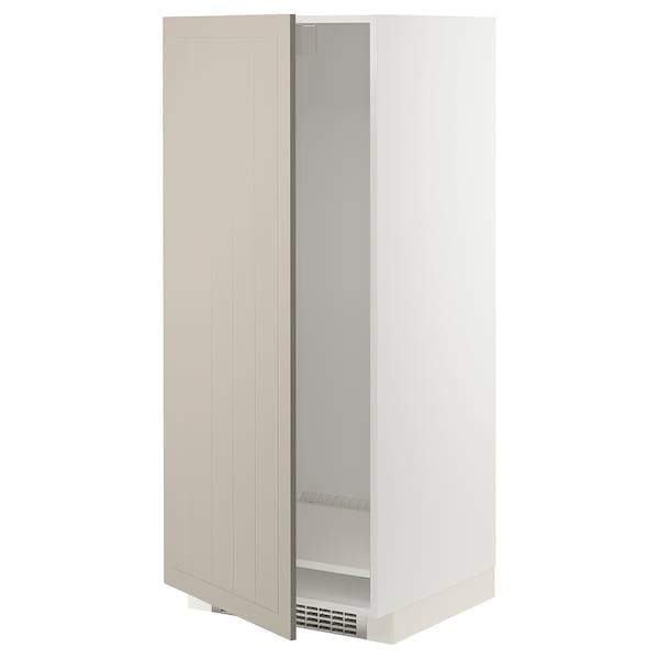 METOD High cabinet for fridge/freezer, white/Stensund beige, 60x60x140 cm