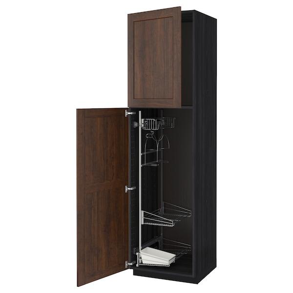METOD خزانة مرتفعة مع أرفف مواد نظافة, أسود/Edserum بني, 60x60x220 سم