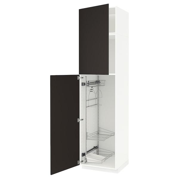 METOD خزانة مرتفعة مع أرفف مواد نظافة, أبيض/Kungsbacka فحمي, 60x60x240 سم
