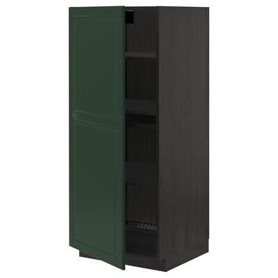 METOD High cabinet with shelves, black/Bodbyn dark green, 60x60x140 cm