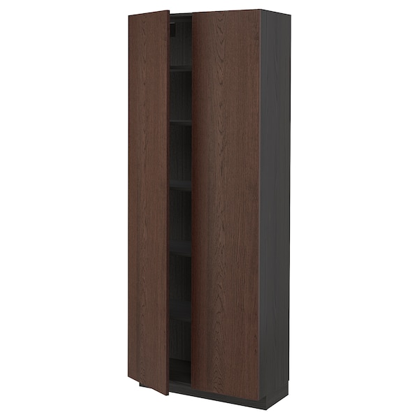 METOD High cabinet with shelves, black/Sinarp brown, 80x37x200 cm
