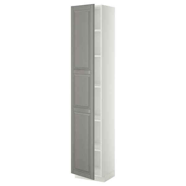 METOD High cabinet with shelves, white/Bodbyn grey, 40x37x200 cm