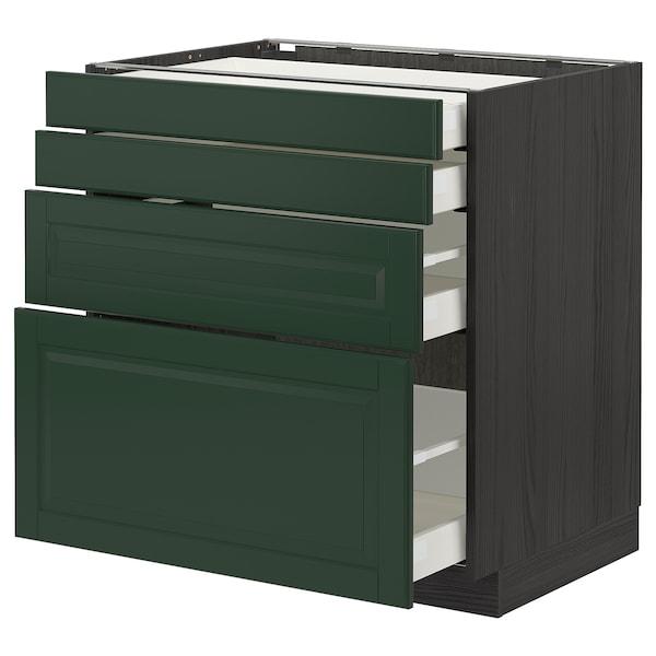 METOD / MAXIMERA Base cab 4 frnts/4 drawers, black/Bodbyn dark green, 80x60 cm