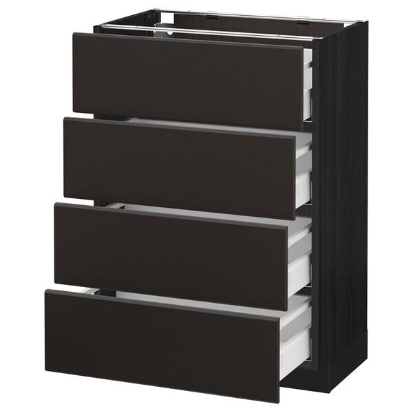 METOD / MAXIMERA Base cab 4 frnts/4 drawers, black/Kungsbacka anthracite, 60x37 cm