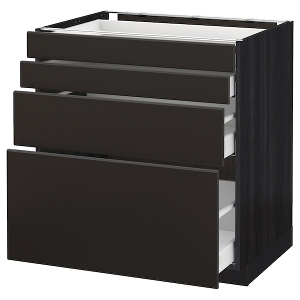 METOD / MAXIMERA Base cab 4 frnts/4 drawers, black/Kungsbacka anthracite, 80x60 cm