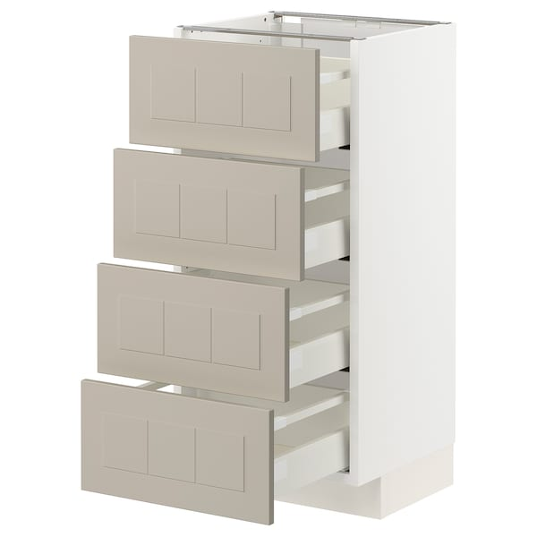 METOD / MAXIMERA Base cab 4 frnts/4 drawers, white/Stensund beige, 40x37 cm