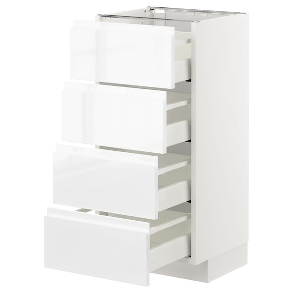METOD / MAXIMERA Base cab 4 frnts/4 drawers, white/Voxtorp high-gloss/white, 40x37 cm