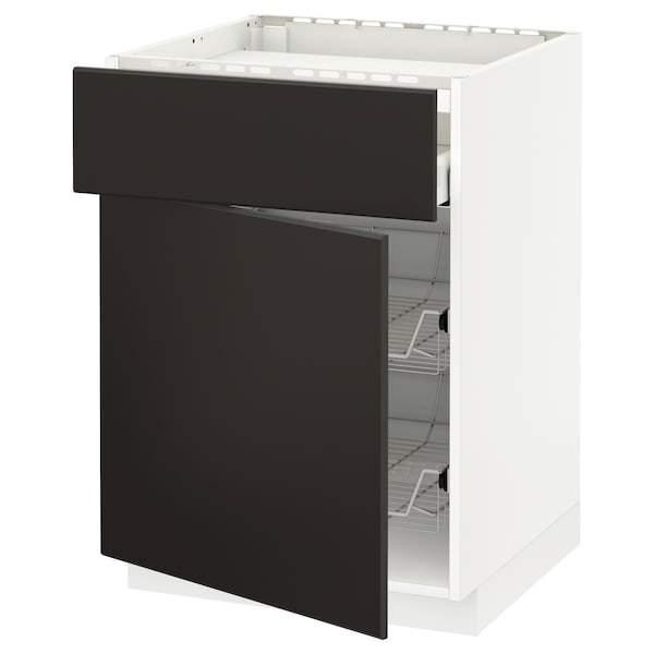 METOD / MAXIMERA Base cab f hob/drawer/2 wire bskts, white/Kungsbacka anthracite, 60x60 cm