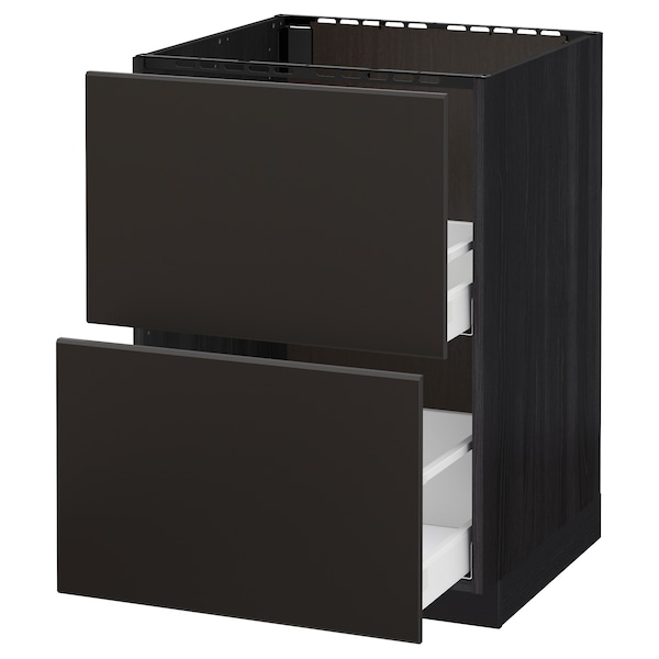 METOD / MAXIMERA Base cab f sink+2 fronts/2 drawers, black/Kungsbacka anthracite, 60x60 cm