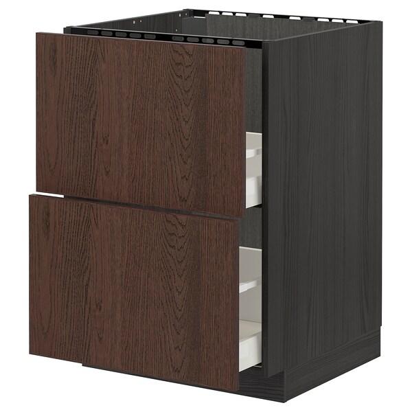 METOD / MAXIMERA Base cab f sink+2 fronts/2 drawers, black/Sinarp brown, 60x60 cm