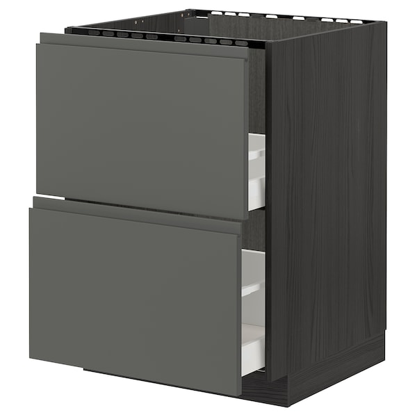 METOD / MAXIMERA Base cab f sink+2 fronts/2 drawers, black/Voxtorp dark grey, 60x60 cm