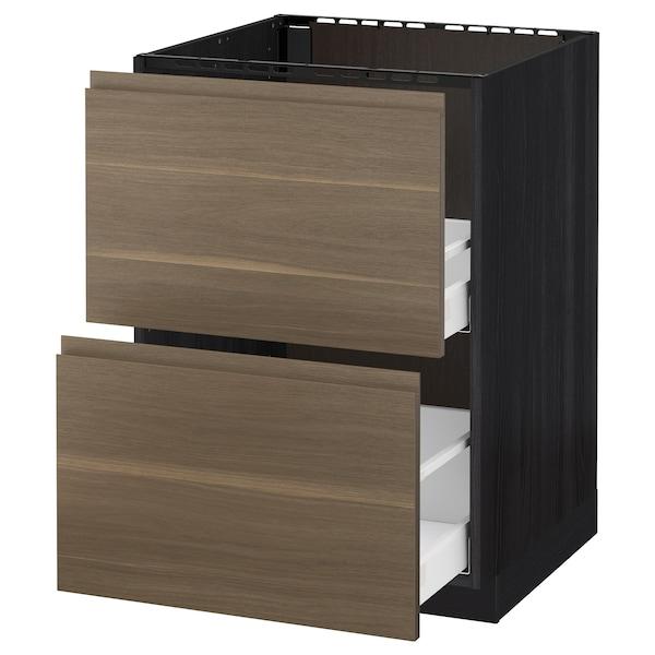 METOD / MAXIMERA Base cab f sink+2 fronts/2 drawers, black/Voxtorp walnut, 60x60 cm