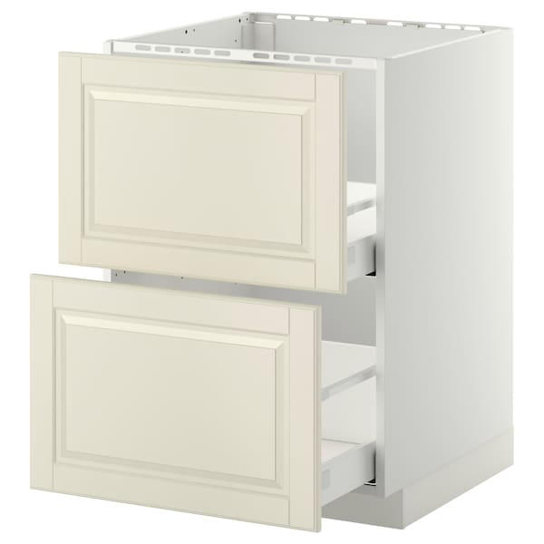 METOD / MAXIMERA Base cab f sink+2 fronts/2 drawers, white/Bodbyn off-white, 60x60 cm