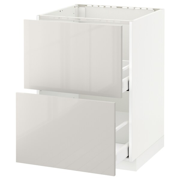METOD / MAXIMERA Base cab f sink+2 fronts/2 drawers, white/Ringhult light grey, 60x60 cm