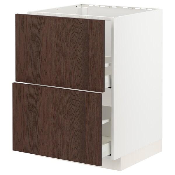 METOD / MAXIMERA Base cab f sink+2 fronts/2 drawers, white/Sinarp brown, 60x60 cm