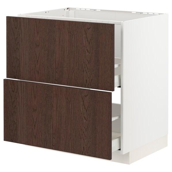 METOD / MAXIMERA Base cab f sink+2 fronts/2 drawers, white/Sinarp brown, 80x60 cm