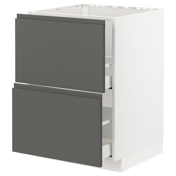 METOD / MAXIMERA Base cab f sink+2 fronts/2 drawers, white/Voxtorp dark grey, 60x60 cm