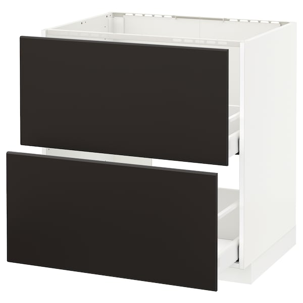 METOD / MAXIMERA base cab f sink+2 fronts/2 drawers white/Kungsbacka anthracite 80.0 cm 61.6 cm 88.0 cm 60.0 cm 80.0 cm